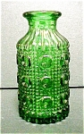 Click here to enlarge image and see more about item A494: Round Rich Green Pressed Glass Vase