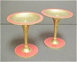 Click to view larger image of Pair Thiland Gold & Red Colored Candleholders (Image1)