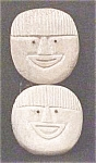 Click here to enlarge image and see more about item A59: Eskimo Carved Bone Faces With Inlaid Eyes