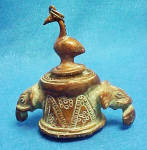 Click here to enlarge image and see more about item A712: Brass Inkwell - Elephant with Bird on Lid