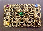 Click to view larger image of Edwardian Style  Multi-stone Gold Toned Pin (Image1)