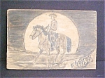 Click here to enlarge image and see more about item A726: Pencil Drawing of Cowboy on Wood - Folk Art