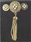 Click to view larger image of Victorian Style Bar Pin With Pearls & Tassel (Image1)