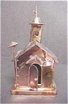 Click here to enlarge image and see more about item A758: Coppertone Metal Church W/Revolving Steeple