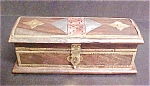 Click here to enlarge image and see more about item A760: Wooden Box With Metal Accents - Lined