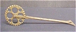 Click here to enlarge image and see more about item A766: Vintage Brass Colored Pie Crimper - England