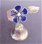 Click here to enlarge image and see more about item A770: Metal Bell W/ Enamel Flower Finial