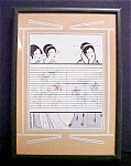 Click here to enlarge image and see more about item A799: Oriental Framed Print - Three Females