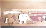 Click here to enlarge image and see more about item A849: Noah's Ark Wooden Shelf - Folk Art