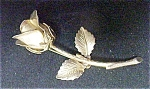 Click here to enlarge image and see more about item A872: Gold Tone Long Stem Rose Pin - Signed