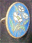 Click here to enlarge image and see more about item A887: Vintage Enamel Ring - Flower Design