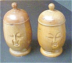 Click to view larger image of Pair of Wooden Oriental Heads/Boxes (Image1)