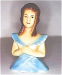 Click here to enlarge image and see more about item A89: Brunet Half Doll