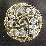Goldtone Pin with Rhinestones