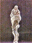 Click here to enlarge image and see more about item AA157: Vintage Silvertoned Female Figural Spoon