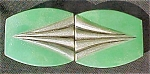 Click here to enlarge image and see more about item AA158: Art Deco Green/Silver Celluloid Belt Buckle