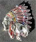 Click here to enlarge image and see more about item AA178: 1940's Indian Head Pin with Buffalo
