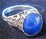 Sterling Lapis Filigree Ring - Size 7