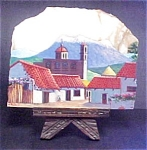 Village Scene Painted on Quartz
