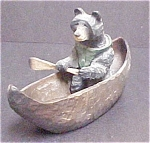 Whimsical Black Bear in Canoe