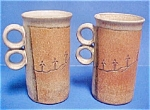 Pair Hand-thrown Pottery Mugs