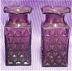 Click to view larger image of Pair of Amethyst Colored Glass Vases (Image1)