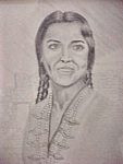 Click here to enlarge image and see more about item AA467: Pen and Ink Print - Native American Woman