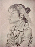 Click here to enlarge image and see more about item AA468: Pen and Ink Print of Native American Girl