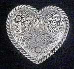 Silver-Toned Heart Belt Buckle