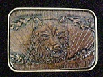 Click to view larger image of Leather Style Wolf Belt Buckle - Canadian (Image1)