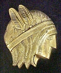 Click here to enlarge image and see more about item AA524: Indian Brave Profile - Solid Brass