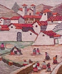 Click here to enlarge image and see more about item AA574: Andes Village Scene/ Peruvian Wall Hanging