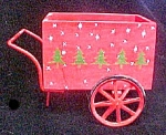 Click here to enlarge image and see more about item AA615: Wood/Metal Holiday Wheel Cart