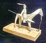 Click here to enlarge image and see more about item AA632: Blackfoot Equestrian Rider - Bone w/Stand