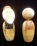 Click here to enlarge image and see more about item AA663: Wooden Oriental  Couple With Movable Heads