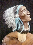 Click here to enlarge image and see more about item AA692: Bronze Head of Native American w/Headdress