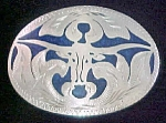 Click to view larger image of Long-Horn Steer - Metal Belt Buckle w/Inlay (Image1)