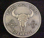 Click here to enlarge image and see more about item AA727: Buffalo Skull Society Metal Belt Buckle