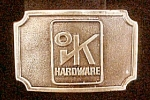 Click to view larger image of Vintage OK Hardware Advertising Belt Buckle (Image1)