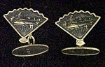 Pair of  Fan Cuff Links w/Oriental Scenery