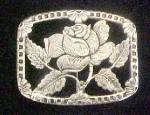 Click here to enlarge image and see more about item AA761: Rose Pin/Broach - Silver-Toned Metal