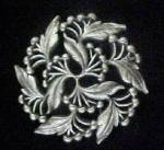 Click here to enlarge image and see more about item AA864: Circular Floral Pin - Pewter Toned