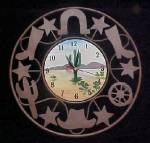 Click here to enlarge image and see more about item AA904: Clock - Western Motif - Rustic Metal