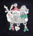 Christmas Pin w/Santa, Reindeer and Penguin