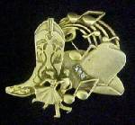 Cowboy Theme Gold-Toned Pin w/Rhinestones