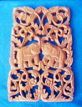 Click to view larger image of Elephant Plaque - Hand Carved - Thailand (Image1)