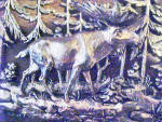 Click here to enlarge image and see more about item AAA1532: Bull Moose Silver-Toned Metal Wall Art