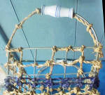 Click to view larger image of Large Wire Frame Hemp Basket Ceramic Handle (Image2)