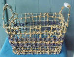 Click to view larger image of Large Wire Frame Hemp Basket Ceramic Handle (Image3)
