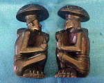 Click here to enlarge image and see more about item AAA1662: Carved Polynesian Bookends - 20th Century